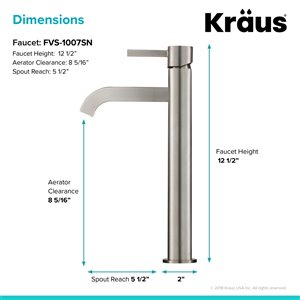 Kraus Premier Bathroom Sink Faucet - 1-Handle - 12.5-in - Satin Nickel