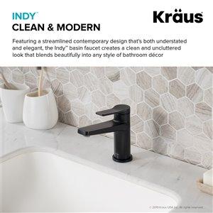 Kraus Indy Bathroom Sink Faucet - 1-Handle - 6.25-in - Matte Black