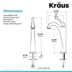 Kraus Arlo Bathroom Sink Faucet - 1-Handle - 12.13-in - Brushed Gold