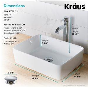 Kraus Rectangular Vessel Bathroom Sink with Ramus Faucet - 14.25-in - White