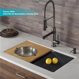 Kraus Artec Pro Pull-Down Kitchen Faucet - Single Handle - Matte Black/Black Stainless