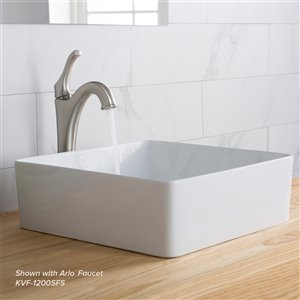 Kraus Viva Square Vessel Bathroom Sink - 15.63-in - Glossy White
