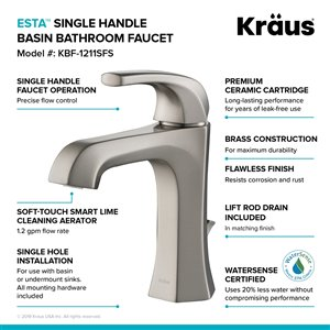 Kraus Esta Bathroom Sink Faucet - 1-Handle - 6.88-in - Stainless Steel