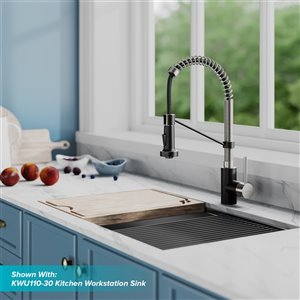 Kraus Bolden Pull-Down Kitchen Faucet - Single Handle - 18-in - Stainless Steel/Matte Black