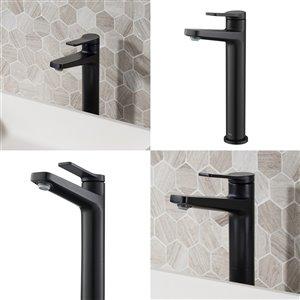 Kraus Indy Bathroom Sink Faucet - 1-Handle - 10.88-in - Matte Black
