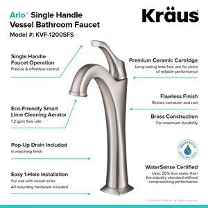 Kraus Arlo Bathroom Sink Faucet - 1-Handle - 12.13-in - Brushed Nickel