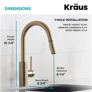 Kraus Oletto Pull-Down Kitchen Faucet - Single Handle - Brushed Brass