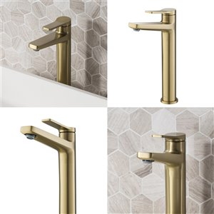 Kraus Indy Bathroom Sink Faucet - 1-Handle - 10.88-in - Brushed Gold