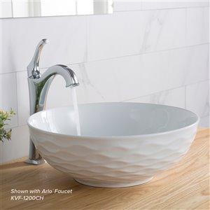 Kraus Viva Round Vessel Bathroom Sink - 16.50-in - Glossy White