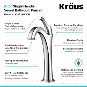 Kraus Arlo Bathroom Sink Faucet - 1-Handle - 12.13-in - Chrome