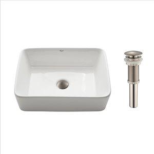 Kraus Ceramic Rectangular Vessel Bathroom Sink - 15.25-in - White