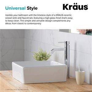 Kraus Ceramic Square Vessel Bathroom Sink with Ramus Faucet - 15-in - White