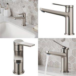 Kraus Indy Bathroom Sink Faucet - 1-Handle - 6.25-in - Stainless Steel