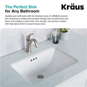 Kraus Elavo Rectangular Undermount Bathroom Sink - 14.75-in - White