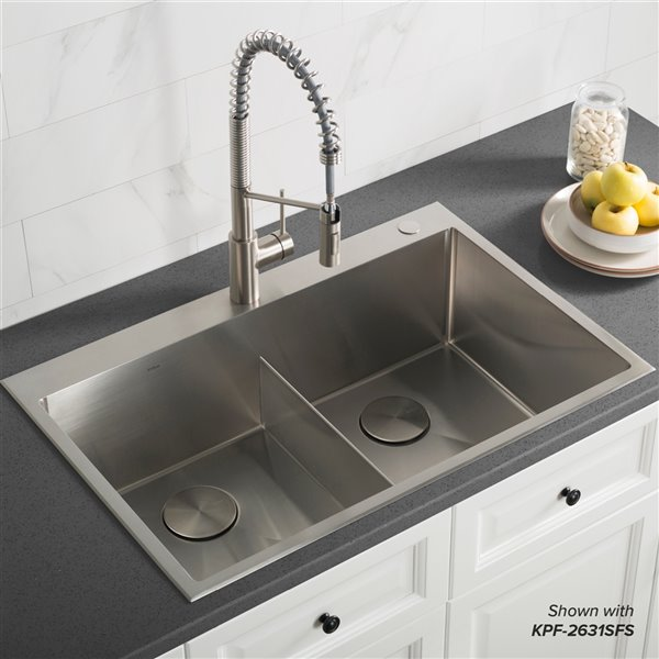 Kraus Standart Pro Drop In Kitchen Sink Double Equal Bowl 33 In Stainless Steel Lowe S Canada