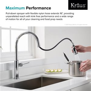 Kraus Sellette Pull-Down Kitchen Faucet - Single Handle - Chrome