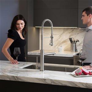 Kraus Artec Pro Pull-Down Kitchen Faucet - Single Handle - Stainless Steel/Matte Black