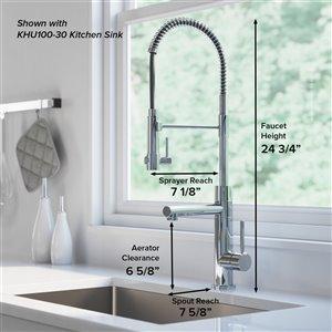 Kraus Artec Pro Pull-Down Kitchen Faucet - Single Handle - Brushed Gold/Matte Black