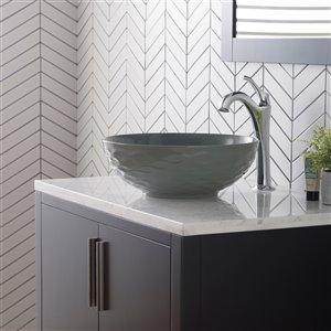Kraus Viva Round Vessel Bathroom Sink - 16.50-in - Glossy Grey