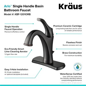Kraus Arlo Bathroom Sink Faucet - 1-Handle - 8-in - Oil Rubbed Bronze