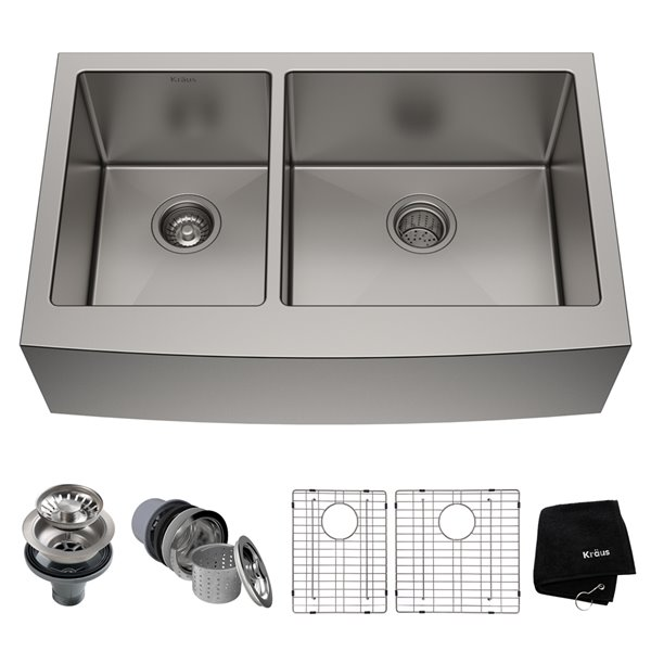 Kraus Standart Pro Apron Front Farmhouse Kitchen Sink Double Offset Bowl 32 88 In X 20 75 In Stainless Steel Lowe S Canada