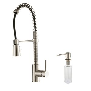 Kraus Premier Pull-Down Kitchen Faucet - Single Handle - 21.25-in - Stainless Steel