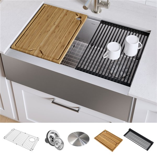 Kraus Kore Apron Front Farmhouse Workstation Kitchen Sink Single Bowl 32 88 In Stainless Steel Lowe S Canada