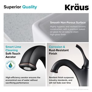Kraus Ceramic Square Vessel Bathroom Sink and Arlo Faucet - 15.25-in - White