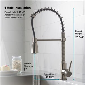 Kraus Premier Pull-Down Kitchen Faucet - Single Handle - Stainless Steel