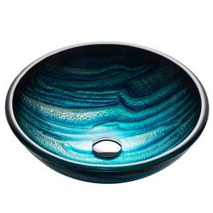 Kraus Nature Round Vessel Bathroom Sink - 17-in - Blue