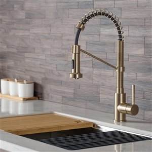 Kraus Bolden Pull-Down Kitchen Faucet - Single Handle - Brushed Gold