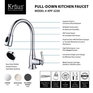 Kraus Premier Pull-Down Kitchen Faucet - Single Handle - 15.25-in - Oil Rubbed Bronze