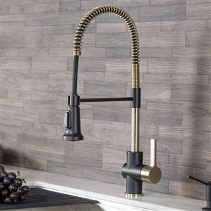 Kraus Britt Pull-Down Kitchen Faucet - Single Handle - Brushed Gold/Matte Black