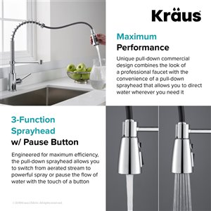 Kraus Premier Pull-Down Kitchen Faucet - 21.25-in - Chrome