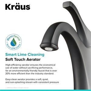 Kraus Arlo Bathroom Sink Faucet - 1-Handle - 8-in - Matte Black