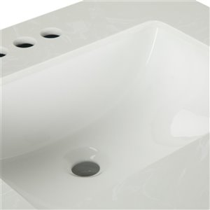 SIMPLI HOME Russo Bath Vanity with White Veined Engineered Quartz Marble Top - 24-in