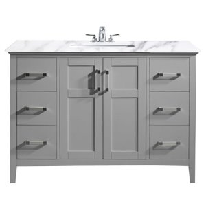 SIMPLI HOME Winston Bath Vanity White Engineered Quartz Marble Top - 48-in
