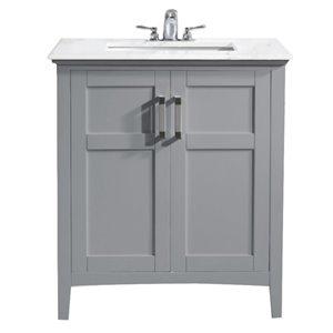 SIMPLI HOME Winston Bath Vanity White Engineered Quartz Marble Top - 30-in