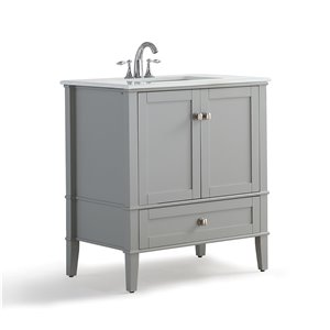 SIMPLI HOME Chelsea Bath Vanity with White Engineered Quartz Marble Top - 30-in