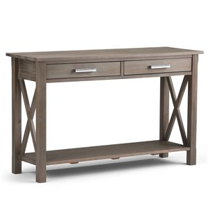 SIMPLI HOME Kitchener Console Sofa Table 2-Drawers - Grey - 15.75-in x 47,4-in