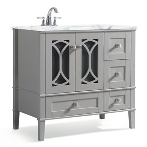 SIMPLI HOME Paige Left Offset Bath Vanity with White Engineered Quartz Marble Top - 36-in