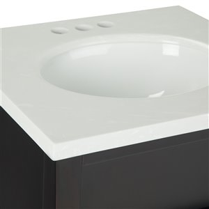 SIMPLI HOME Russo Bath Vanity with White Veined Engineered Quartz Marble Top - 20-in
