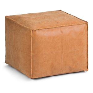 SIMPLI HOME Brody Square Pouf - Distressed Brown - 18-in x 18-in x 14-in