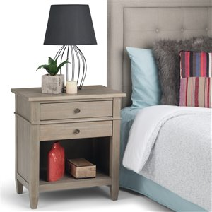 SIMPLI HOME Carlton Bedside Table - 2-Drawer - Grey - 16-in x 24-in