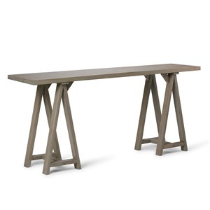 SIMPLI HOME Sawhorse Wide Console Sofa Table - Grey - 16.5-in x 66-in