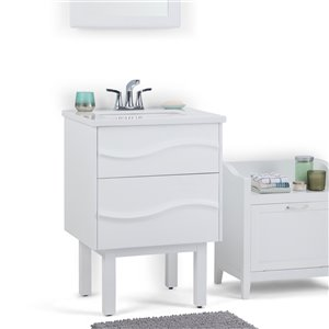 SIMPLI HOME Marlowe Bath Vanity with Light Grey Veined Engineered Quartz Marble Top - 24-in