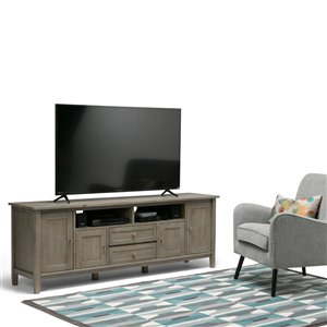 SIMPLI HOME Warm Shaker TV Media Stand - Distressed Grey - 72-in