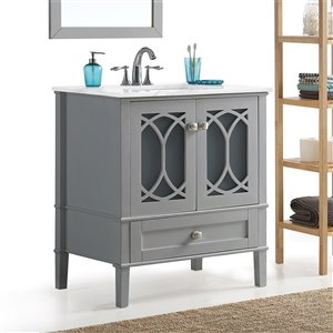 SIMPLI HOME Paige Bath Vanity with White Engineered Quartz Marble Top - 30-in