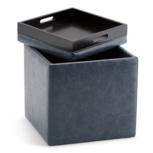 SIMPLI HOME Rockwood Cube Storage Ottoman with Tray - Denim Blue - 16.9-in x 16.9-in
