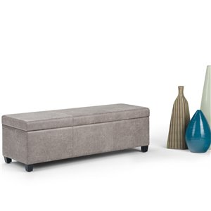 SIMPLI HOME Avalon Storage Ottoman Bench - Distressed Grey Taupe - 18-in x 48-in